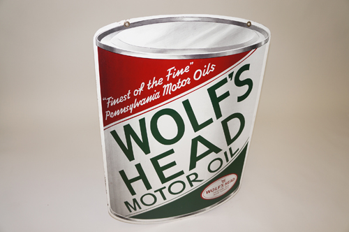 Very clean 1950s Wolfs Head Motor Oil double-sided die-cut oil can shaped tin garage sign. - Front 3/4 - 154628