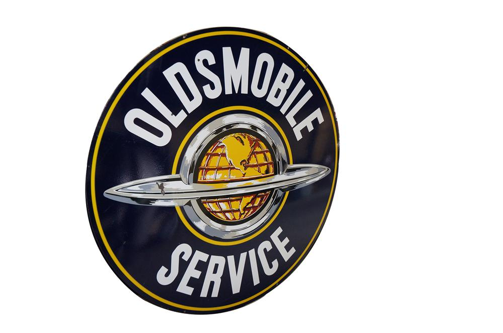 Very desirable 1950s Oldsmobile Service double-sided porcelain dealership sign with globe logo. - Front 3/4 - 154631