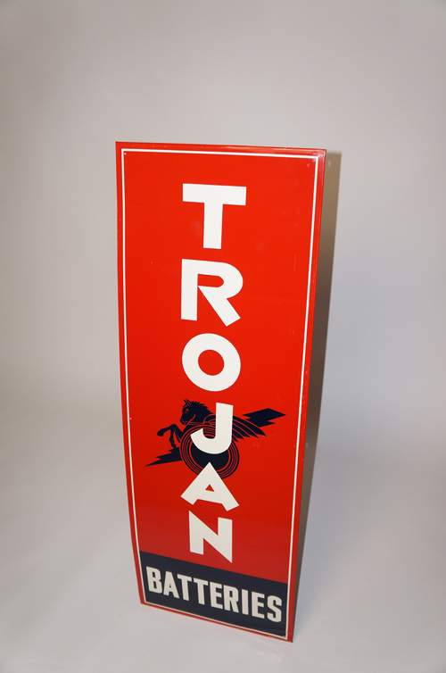 Killer 1940s Trojan Automotive Batteries vertical tin garage sign with nice colors. - Front 3/4 - 154633