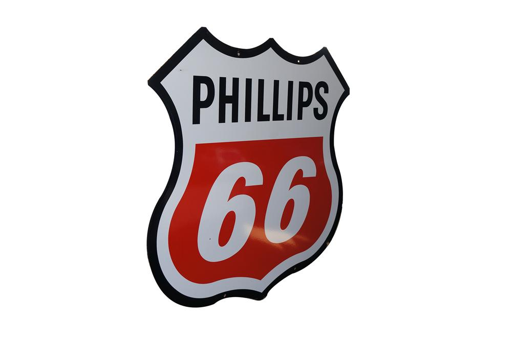 Wonderful 1960s Phillips 66 double-sided shield shaped porcelain service station sign. - Front 3/4 - 154634