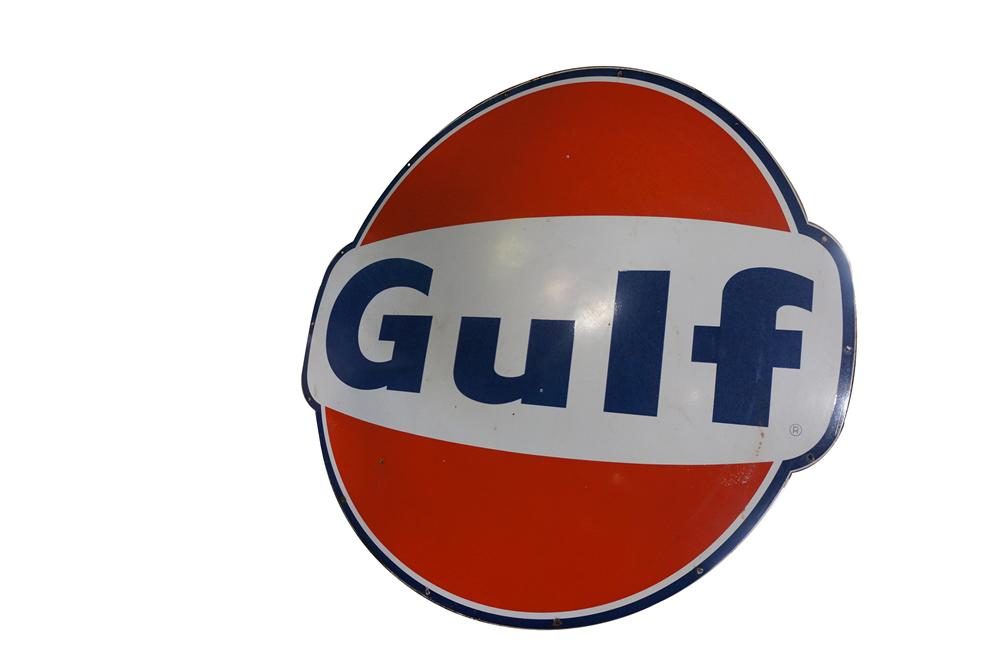 Large late 1950s Gulf Oil single-sided porcelain service station sign. - Front 3/4 - 154636