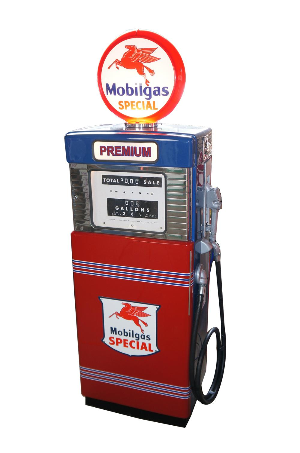 Stunning late 1950s Mobil Oil Wayne model #505 restored service station gas pump. - Front 3/4 - 154639