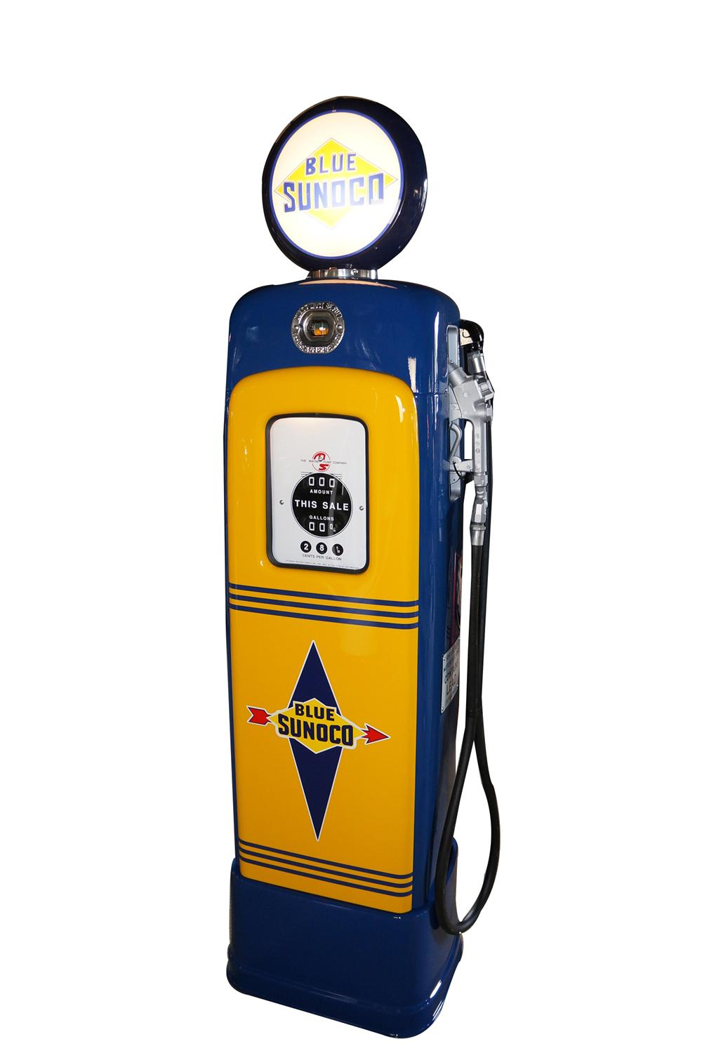 Very good looking late 1940s-early 50s Sunoco Oil M-S model #80 restored service station gas pump. - Front 3/4 - 154651