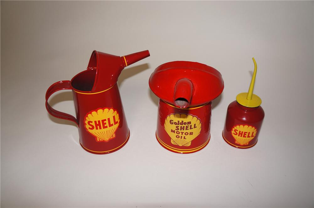 Lot of three restored 1920s-40s Shell Oil service department handy oilers. - Front 3/4 - 154659