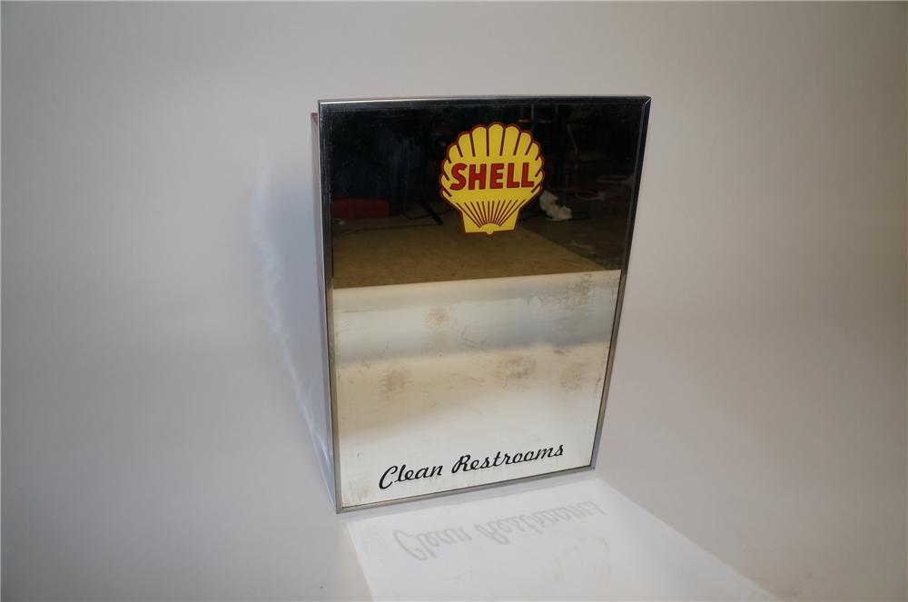 Seldom seen 1950s Shell Oil Clean Restrooms vintage service station mirror with cabinet. - Front 3/4 - 154662