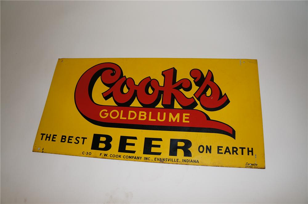 1930s Cooks Gold Blume Beer double-sided tin tavern sign. - Front 3/4 - 154664