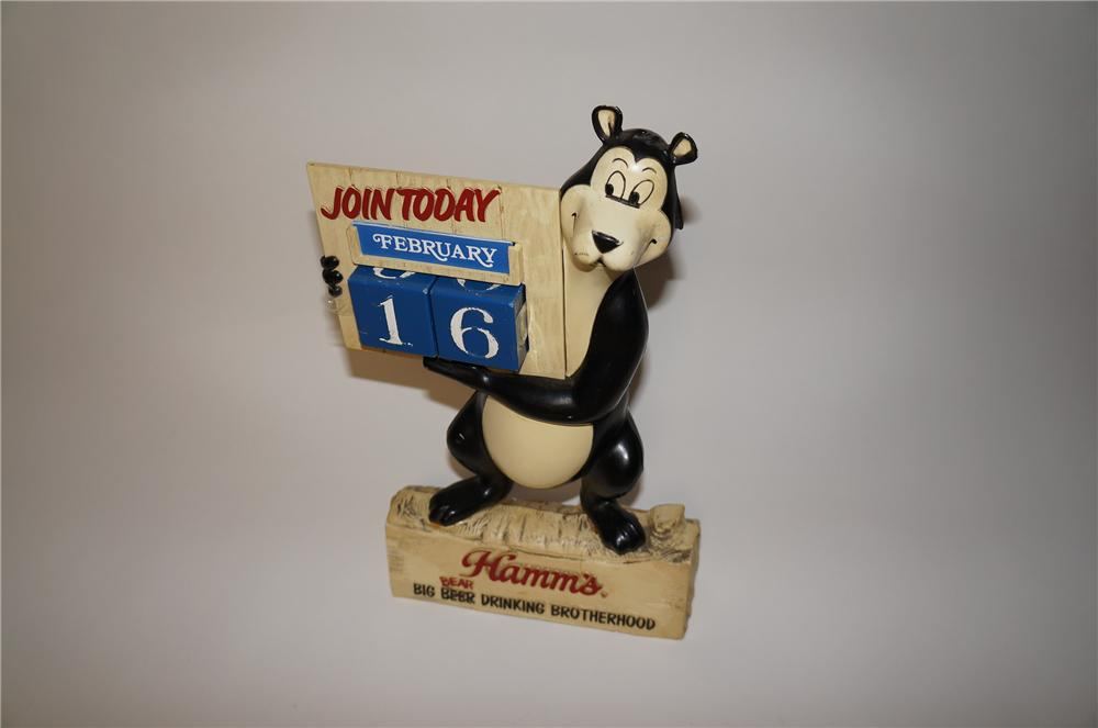 Fun 1950s Hamms Beer three-dimensional bar back bear calendar. - Front 3/4 - 154666