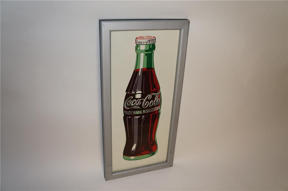 Choice N.O.S. 1947 Coca-Cola tin bottle sign with wood frame.  Found unused after 60+ years!! - Front 3/4 - 154667
