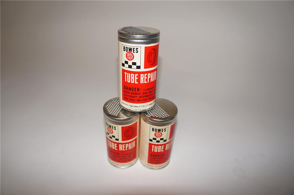 N.O.S. lot of three Bowes Tube Repair tins found unused.  Condition: 9.5+ - Front 3/4 - 154669