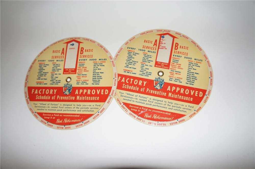 Lot of two N.O.S. 1950s Ford Factory Approved Service Schedule of Preventive Maintenance dialers. - Front 3/4 - 154670