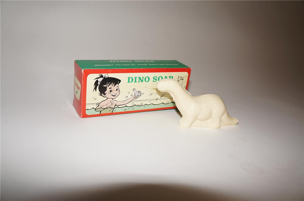 "Cute 1960s Sinclair Oil service station promotional ""Dino"" dinosaur shaped soap still new in the box. - Front 3/4 - 154672"