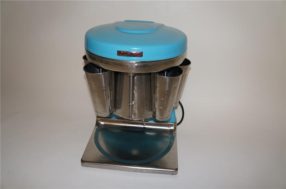 Very cool 1950s Five head Soda Fountain Multi-Mixer malt machine nicely restored in period T-Bird blue. - Front 3/4 - 154679