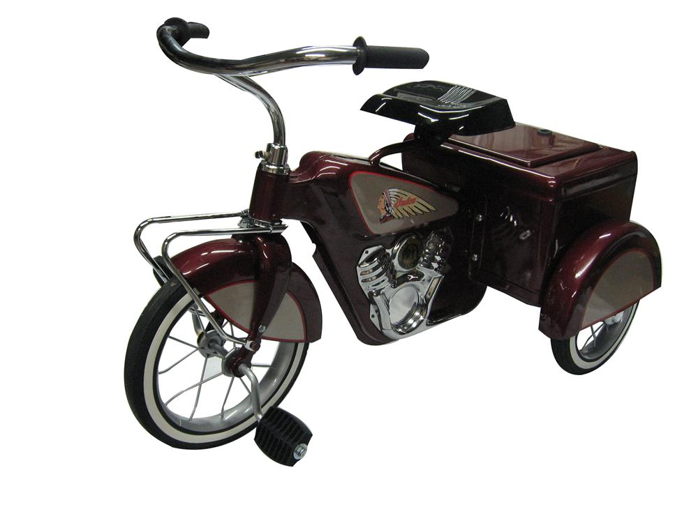 Stellar vintage 1950s Indian Motorcycle themed delivery  tricycle. - Front 3/4 - 154690