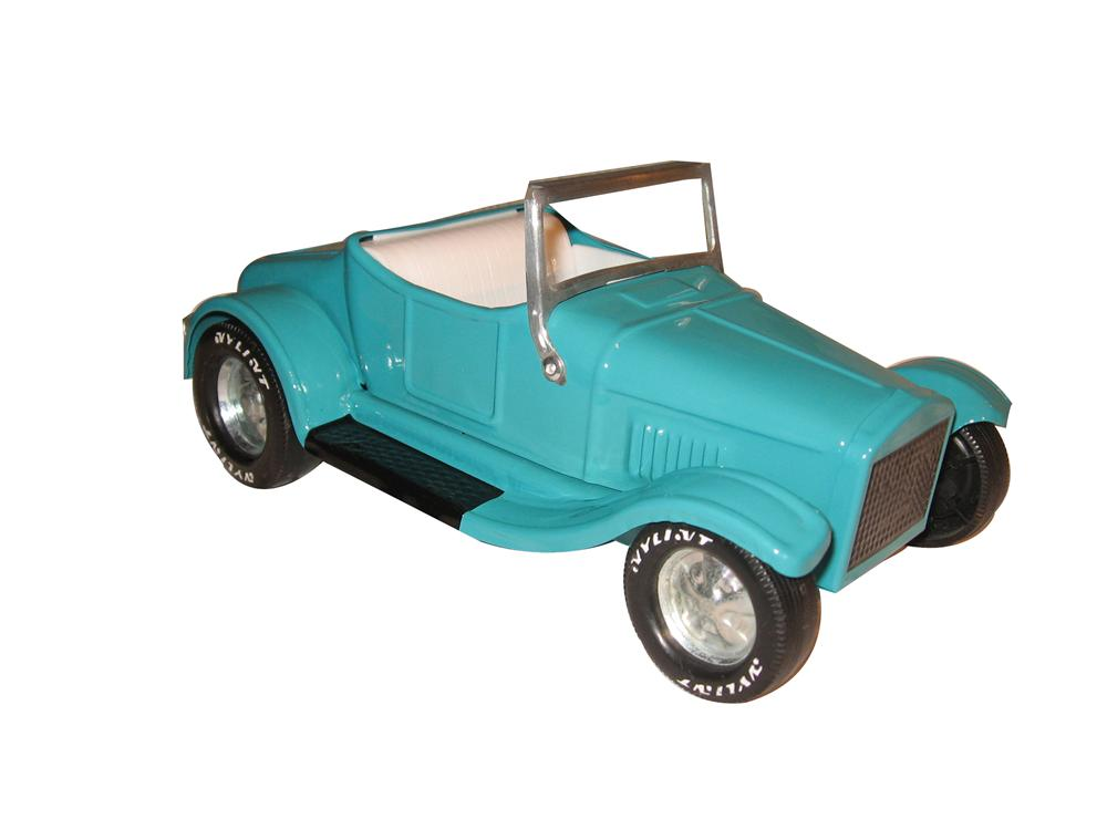 Vintage Nylint custom painted rumble seat roadster finished in a beautiful turquoise paint finish. - Front 3/4 - 154696