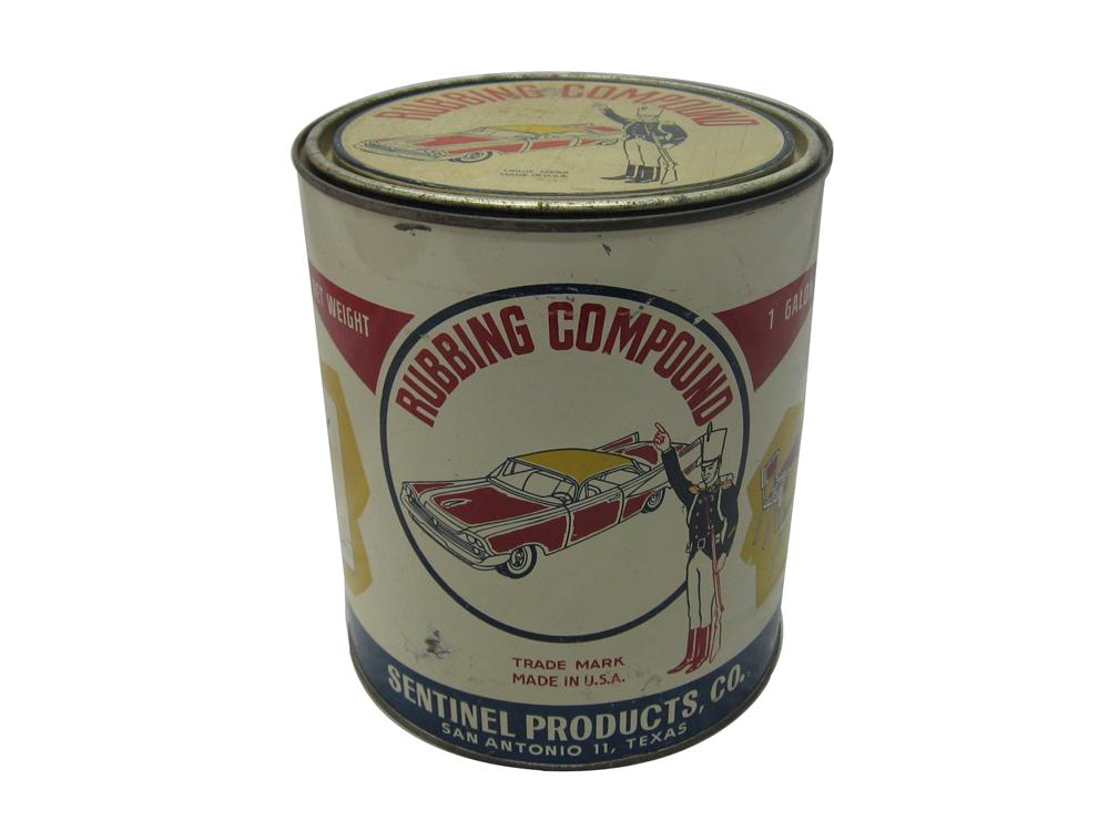 Fantastic 1950s Sentinel Automotive Rubbing Compound one gallon tin with a big finned period car graphic. - Front 3/4 - 154697