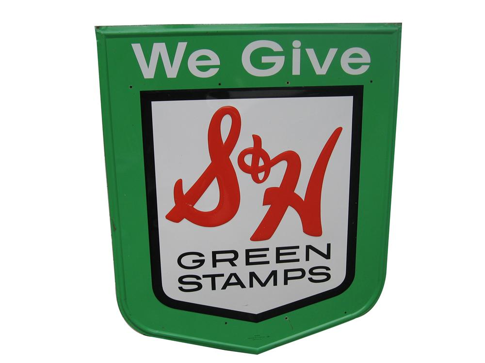 Very nice vintage S&H Green Stamps single-sided tin service station sign. - Front 3/4 - 154698