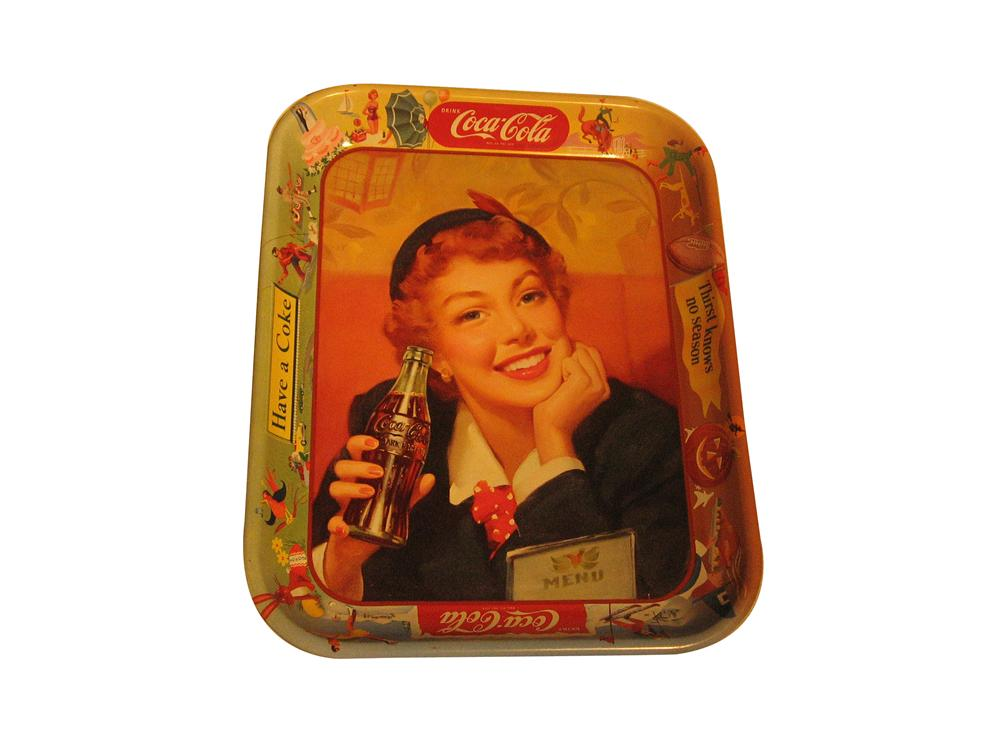 N.O.S. late 1950s Coca-Cola diner serving tray.  Beautiful graphics. - Front 3/4 - 154699
