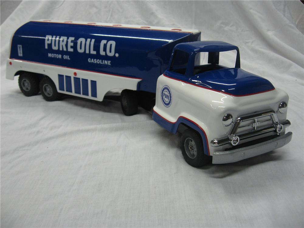 Original 1950s GMC Buddy-L toy tanker truck custom painted in Pure Oil colors. - Front 3/4 - 154701
