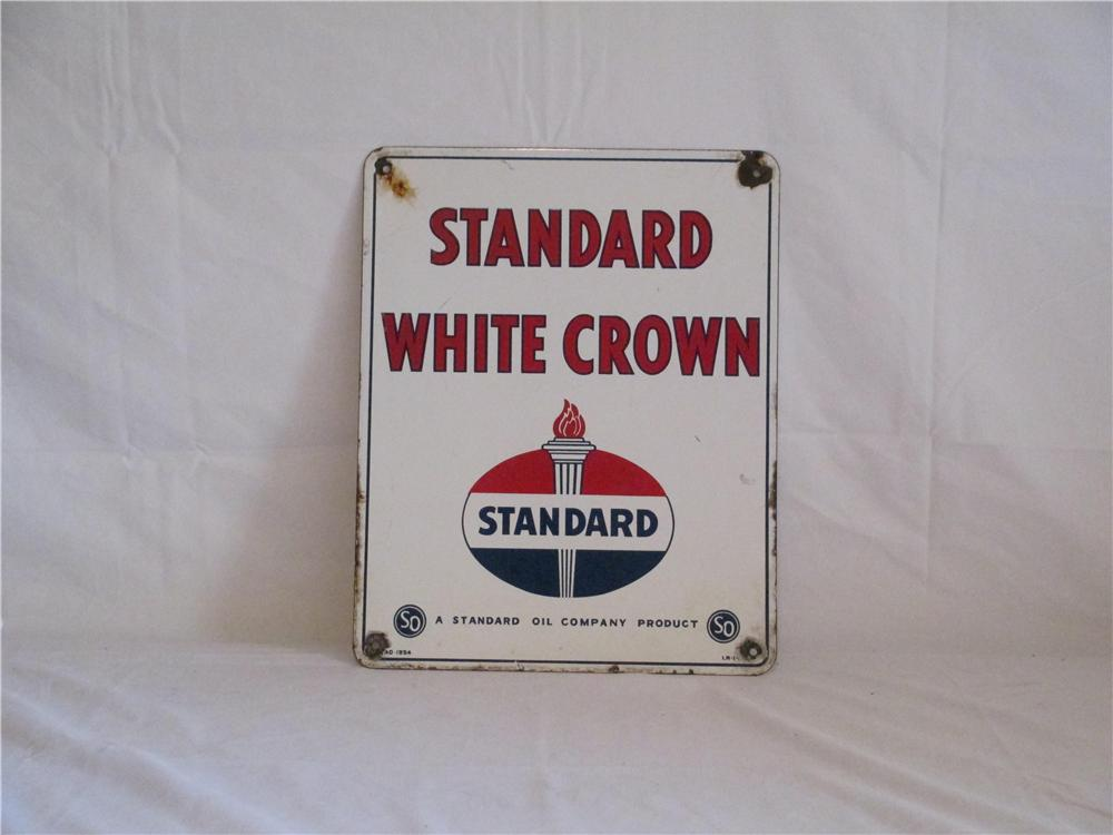 Sharp 1954 Standard White Crown Gasoline porcelain pump plate sign. - Front 3/4 - 154707