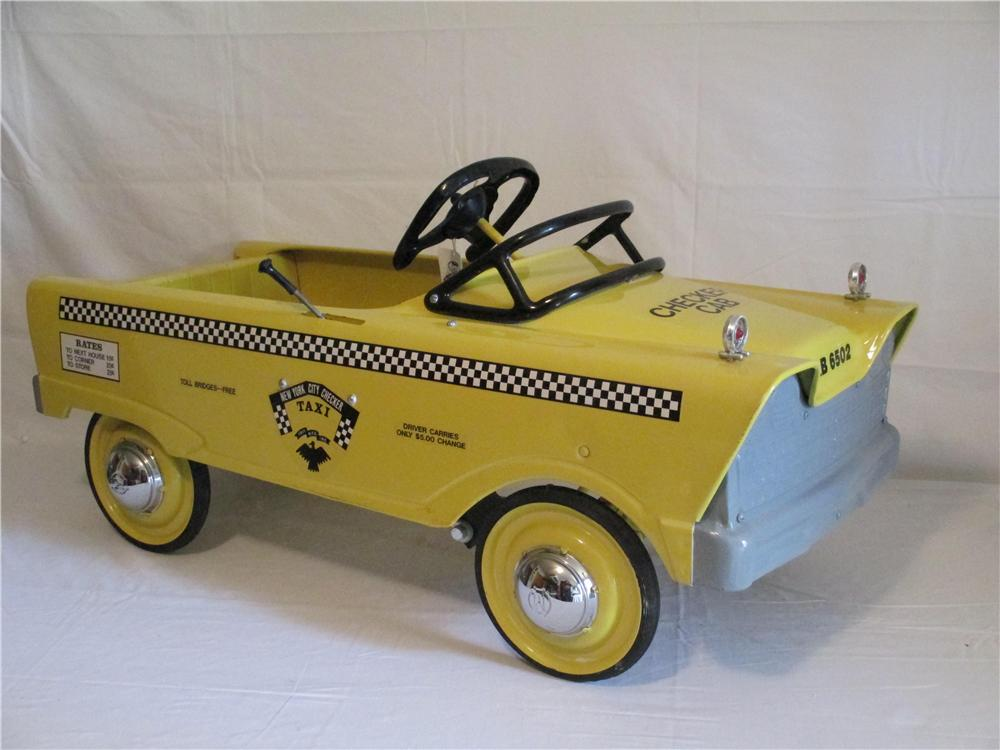 Restored 1958 Murray flat face New York City Checker Taxi Cab pedal car with graphics and original sales hang tag. - Front 3/4 - 154708