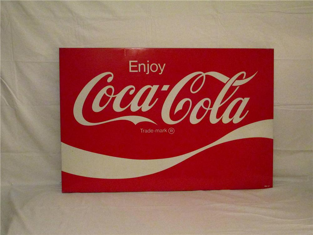 Sharp 1967 Enjoy Coca-Cola large tin store sign. - Front 3/4 - 154713