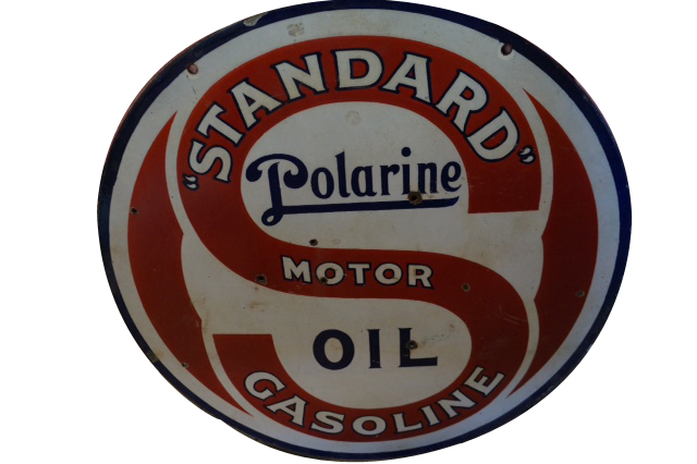 Rare 1930s Standard Polarine Motor Oil double-sided porcelain service station sign. Extremely hard to find! - Front 3/4 - 154730
