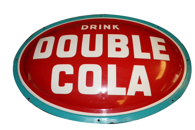 Fantastic N.O.S. 1950s Double-Cola Soda single-sided concave tin sign. - Front 3/4 - 154731