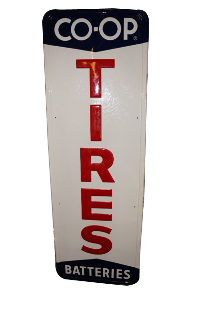 Sharp N.O.S. CO-OP Tires-Batteries vertical tin garage sign.  Pulled out of the original shipping paper. - Front 3/4 - 154733