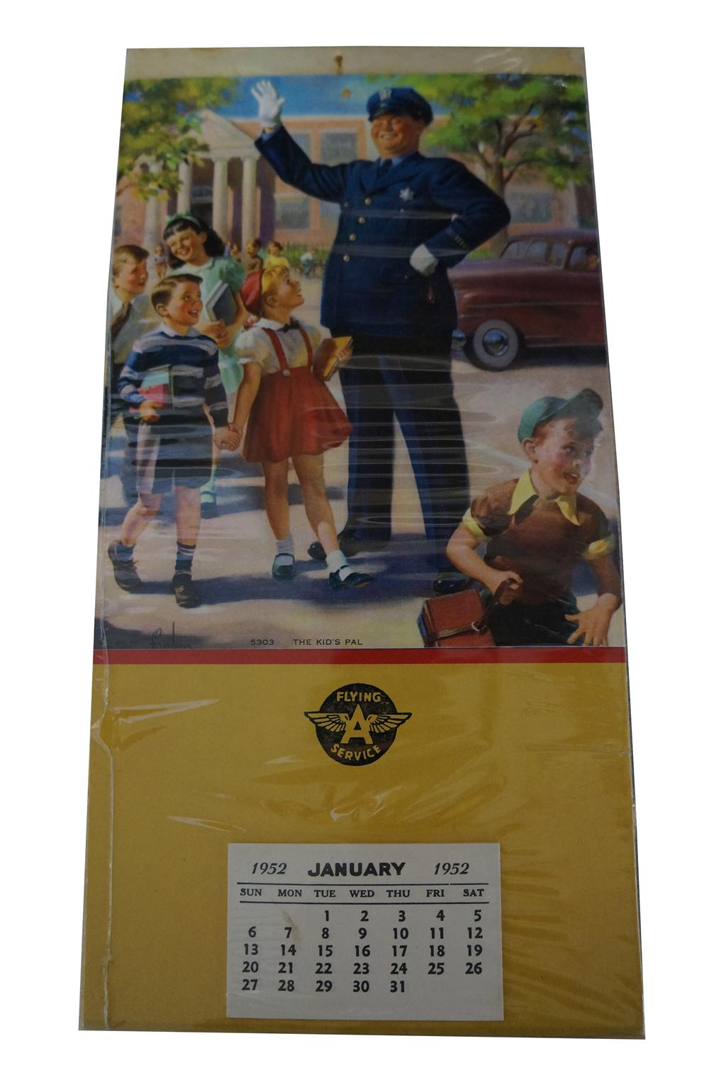 "Desirable 1952 ""The Kids Pal"" Flying A Service promotional calendar. - Front 3/4 - 154738"