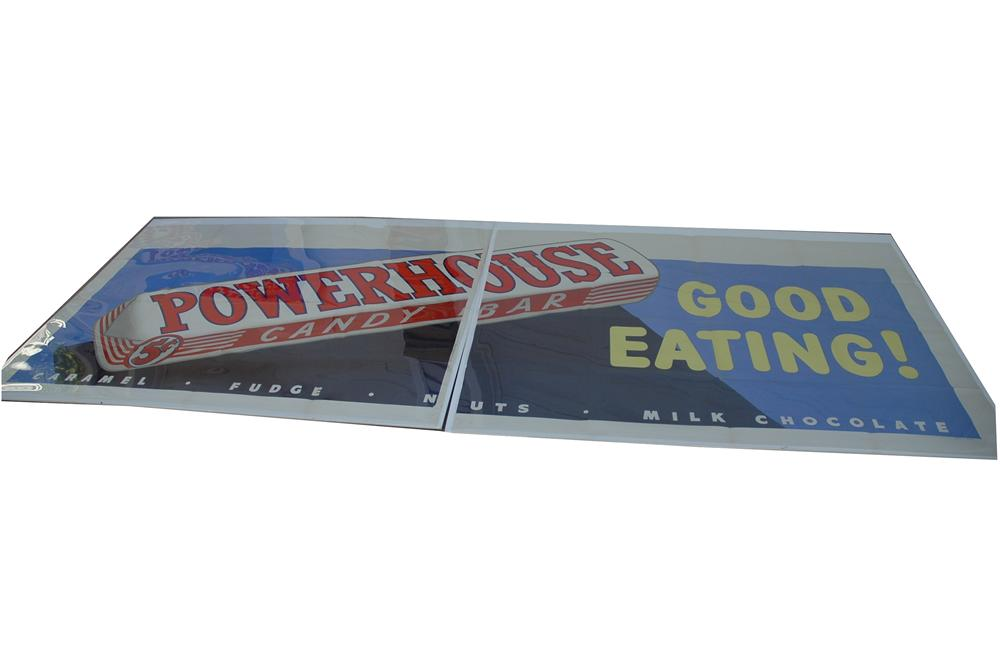 "Large 1930s Powerhouse Candy Bars ""Good Eating"" two piece litho advertising poster found unused! - Front 3/4 - 154746"