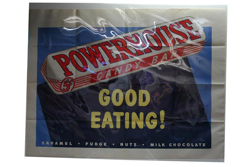 "Large one piece 1930s Powerhouse Candy Bars ""Good Eating"" litho advertising poster found unused! - Front 3/4 - 154747"