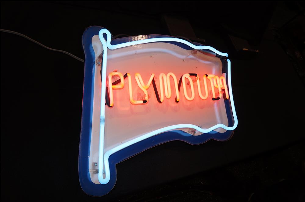 Addendum Item - Nifty 1960s Plymouth Automobiles lighted showroom neon sign. - Front 3/4 - 155896