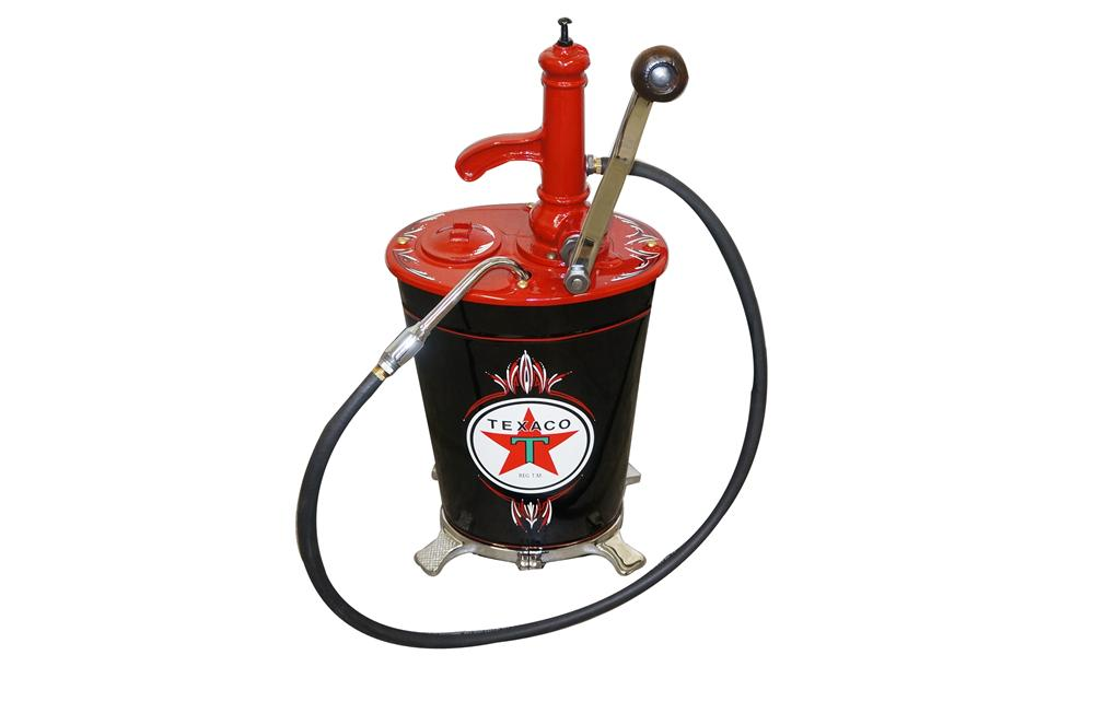 Nicely restored 1930s Texaco Oil five gallon restored hand crank lubester. - Front 3/4 - 157988