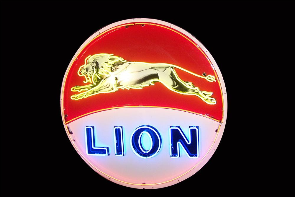 1950s Lion Gasoline single-sided porcelain neon service station sign with leaping lion graphic. - Front 3/4 - 157999