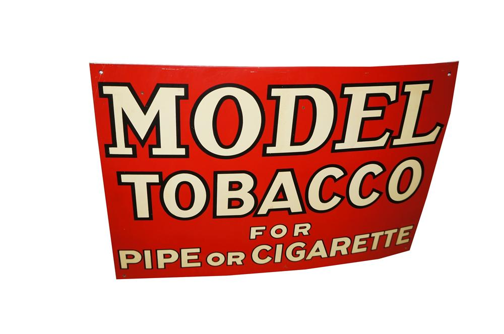 N.O.S. 1938 Model Tobacco single-sided tin general store sign. - Front 3/4 - 158009