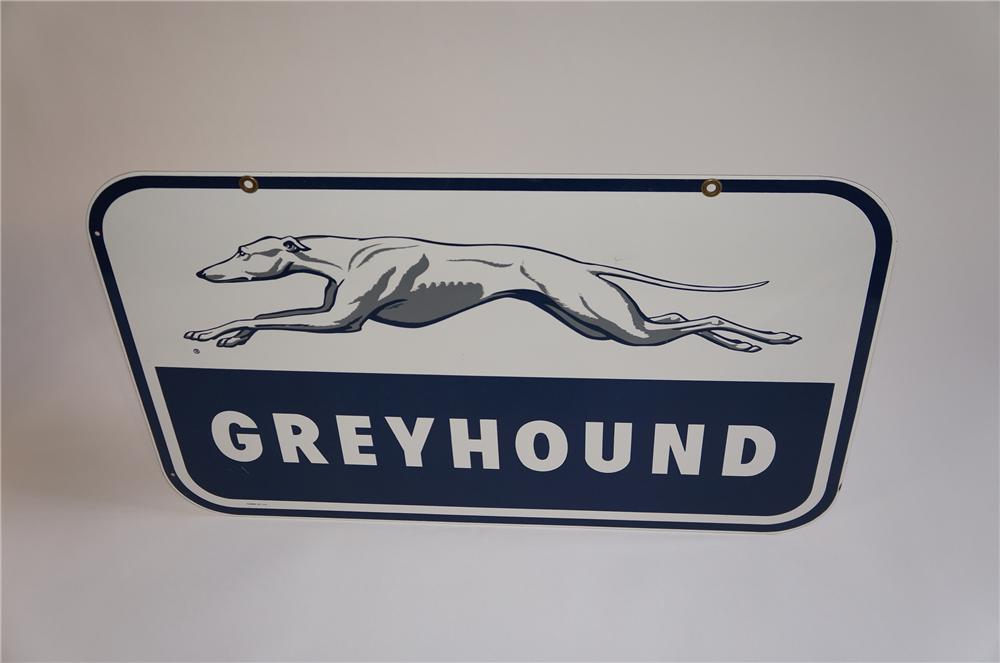 Beautiful 1950s Greyhound Bus Lines double-sided porcelain depot sign with greyhound logo.  Very clean! - Front 3/4 - 158022