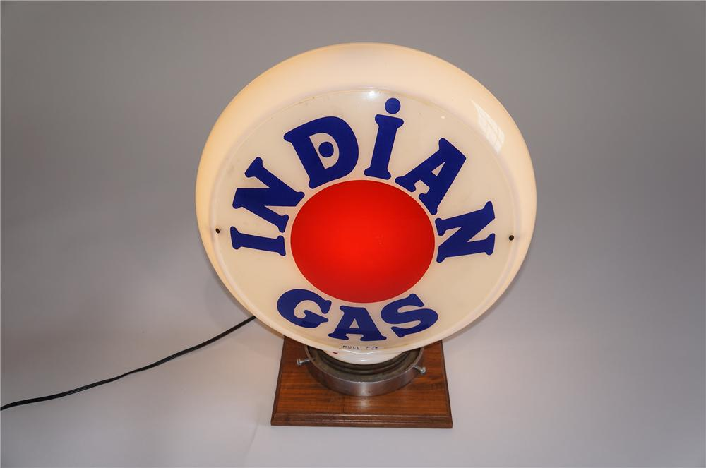 Worthy of bragging rights 1936 Texaco Indian Gasoline narrow milk glass Hull body gas pump globe. - Front 3/4 - 158023