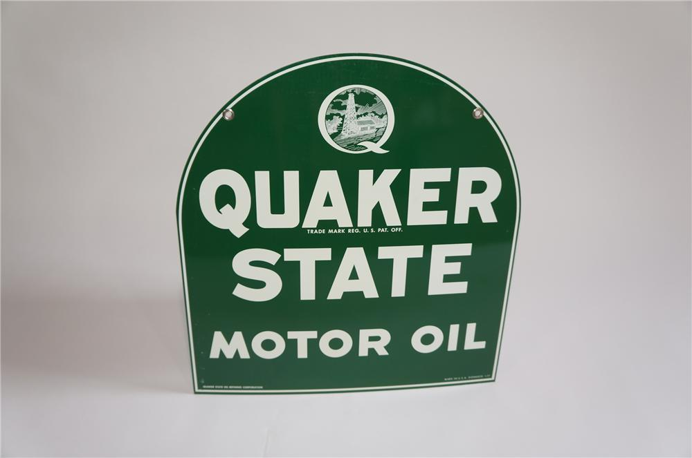 N.O.S. Quaker State Motor Oil double-sided tombstone shaped curb sign found in the original box. - Front 3/4 - 158026