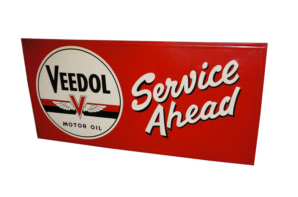 Beautiful 1952 Veedol Service Ahead single-sided wood framed garage sign.  Highly desirable! - Front 3/4 - 158028
