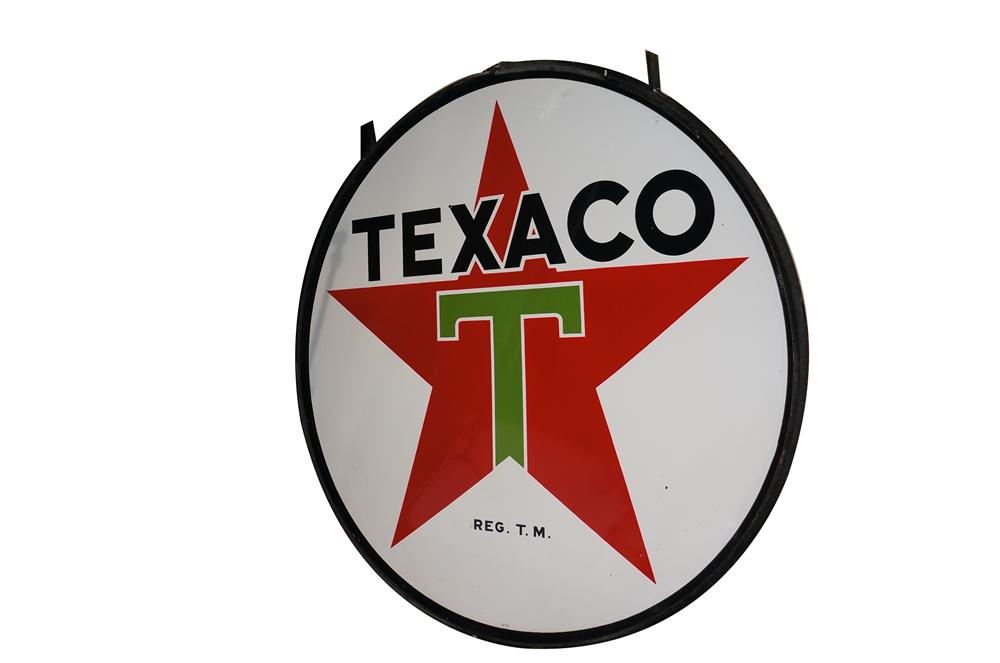 Large 1953 Texaco Oil double-sided porcelain service station sign in the original hanger.  Simply unsurpassable!! - Front 3/4 - 158034