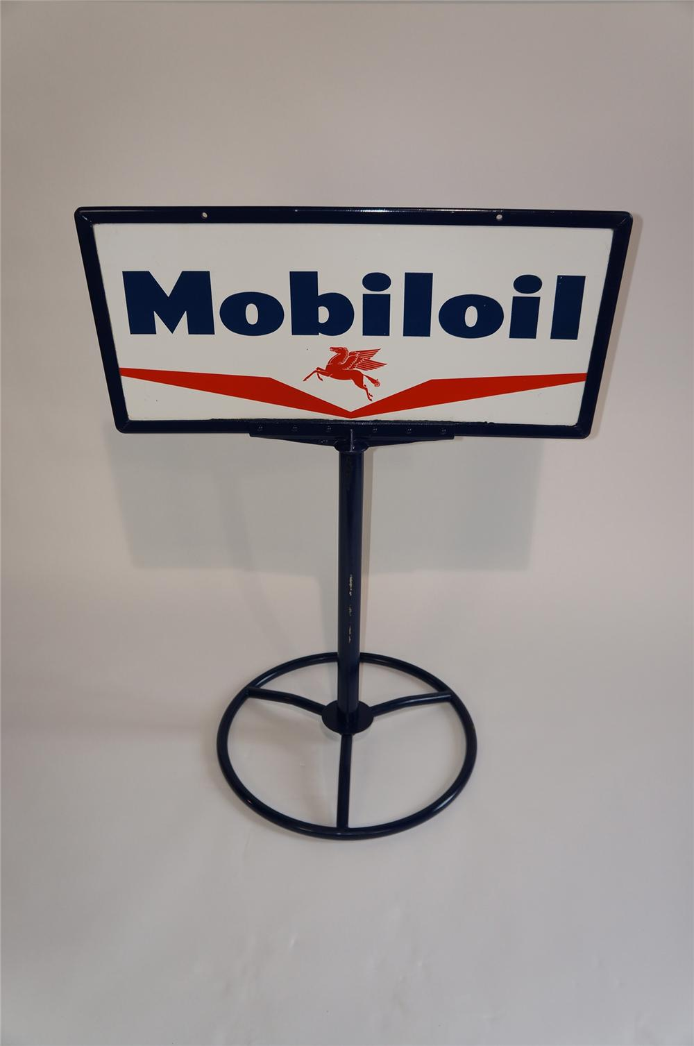 Sharp 1950s Mobil Oil double-sided porcelain curb sign with Pegasus logo. - Front 3/4 - 158035