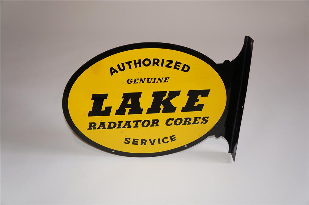Choice 1950s Lake Radiator Cores double-sided tin automotive garage sign. - Front 3/4 - 158037