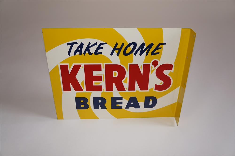 Neat N.O.S. 1950s Kerns Bread double-sided tin painted flange sign.  Pulled out of the original shipping paper! - Front 3/4 - 158040