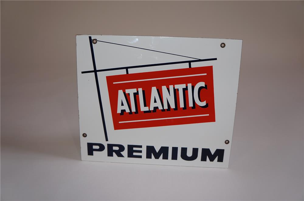 N.O.S. late 1950s Atlantic Premium Gasoline single-sided porcelain pump plate sign. - Front 3/4 - 158043
