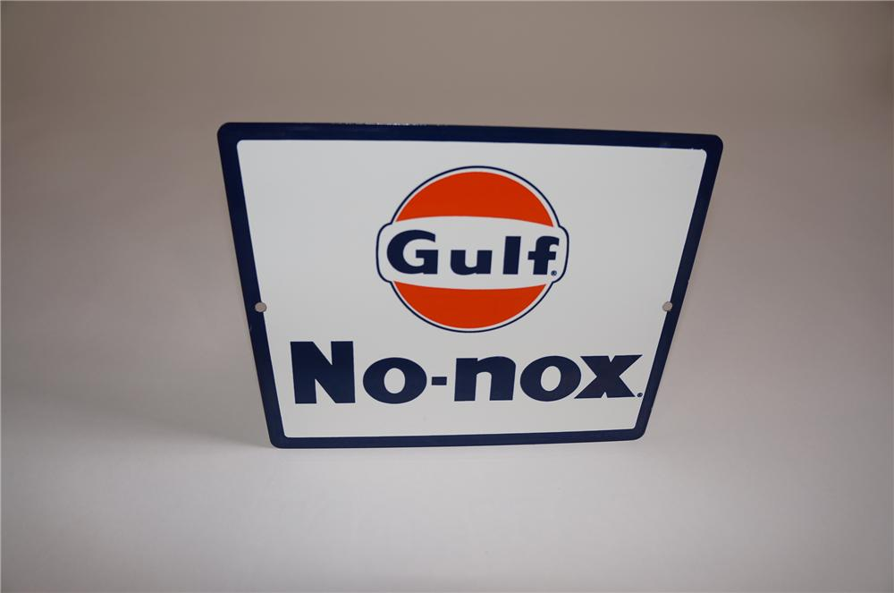 """N.O.S. 1950s-60s Gulf Oil """"No-Nox"""" Gasoline porcelain pump plate sign with Gulf logo.  Very nice! - Front 3/4 - 158051"""
