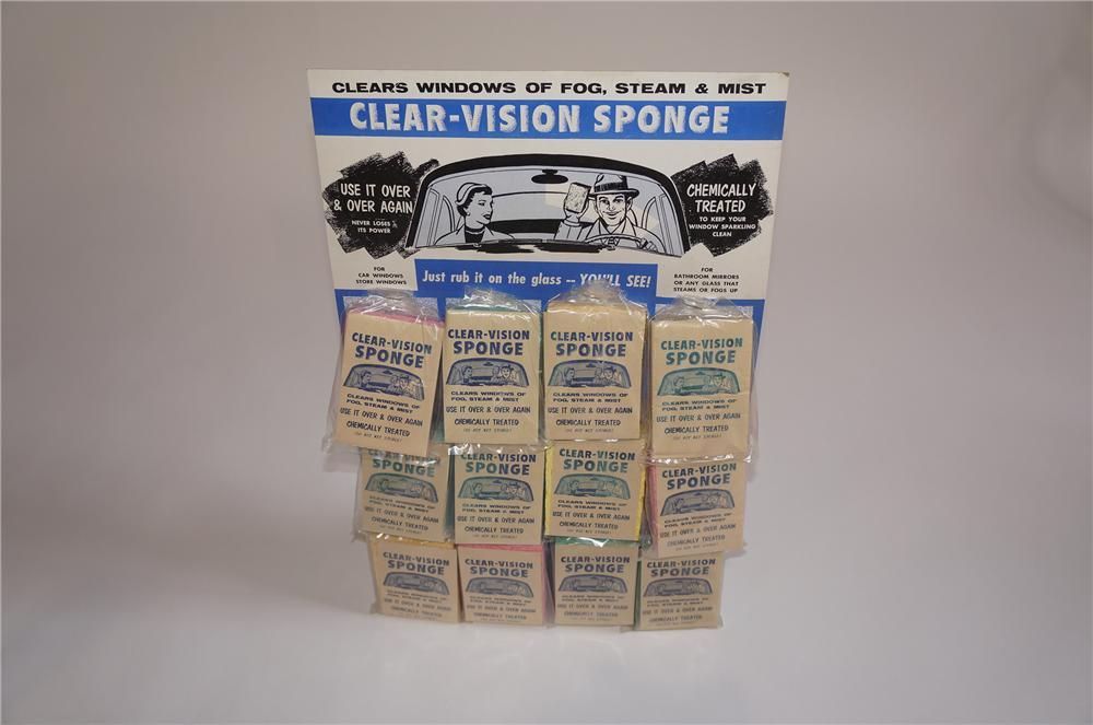 Very cool 1950s Clear Vision Automotive Sponge counter-display cardboard still full of original product. - Front 3/4 - 158057