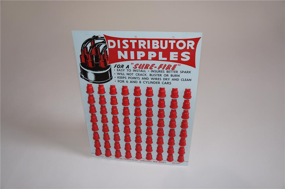 N.O.S. 1962 Sure-Fire Automotive Distributor Nipples cardboard display still full of original product. - Front 3/4 - 158059