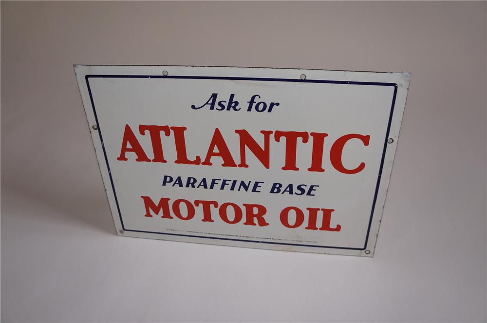 Scarce 1930s Atlantic Motor Oil single-sided porcelain filling station sign. - Front 3/4 - 158060