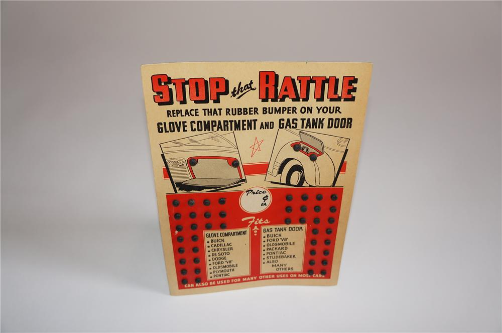 "N.O.S. 1940s-50s ""Stop that Rattle"" Glove Compartment and Gas Tank Door Rubber Bumpers cardboard display. - Front 3/4 - 158065"