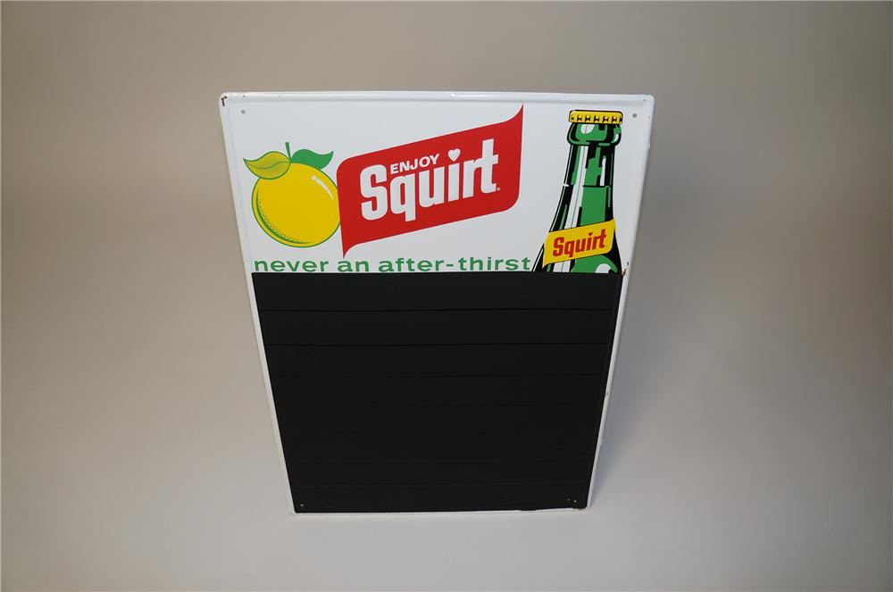 N.O.S. Squirt Soda embossed tin diner menu board with bottle graphic.  Pulled out of the original shipping paper! - Front 3/4 - 158075